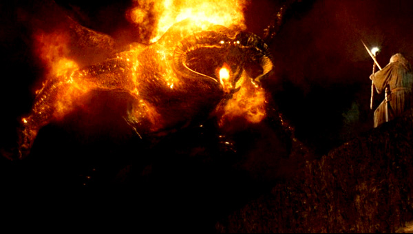 Gandalf facing down the Balrog, Lord of the Rings: Fellowship of the Ring (a metaphor and an exemplar for troubling times)