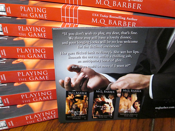 Neighborly Affection series swag (trade paperbacks of Playing the Game and magnets)