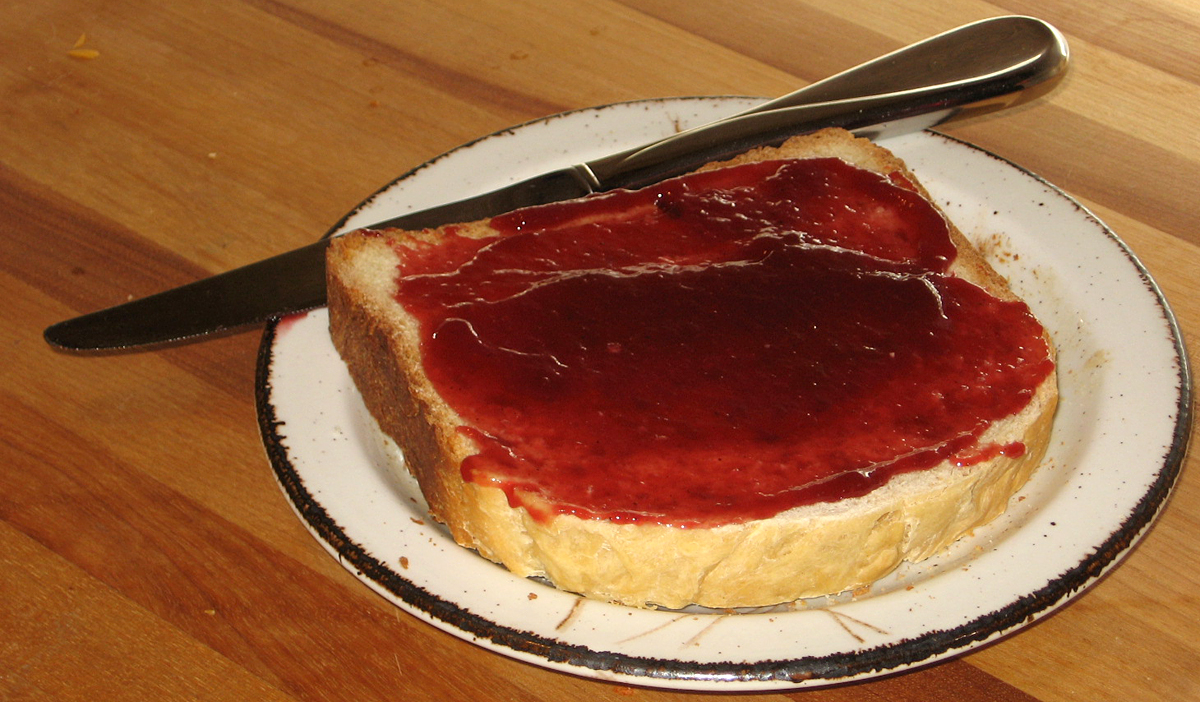 Elderberry jelly on white bread