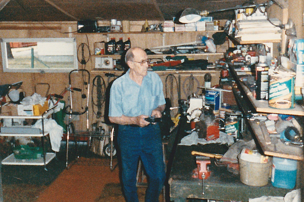 M.Q.'s grandpa at home in his workshop
